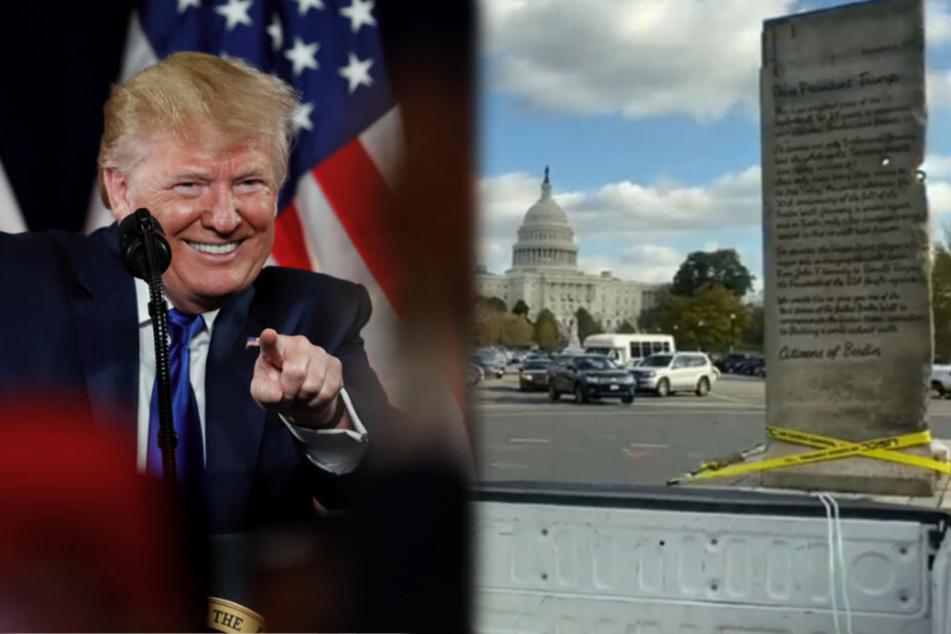 Donald Trump wird mit Stück der Berliner Mauer getrollt