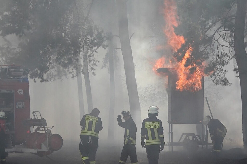 Feldbrand greift auf Waldstück über und hält Feuerwehr in Atem