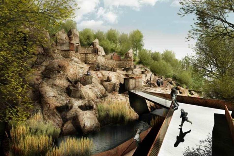 In der Berberaffen-Anlage sollen sich die Zoobesucher in Zukunft frei bewegen können.
