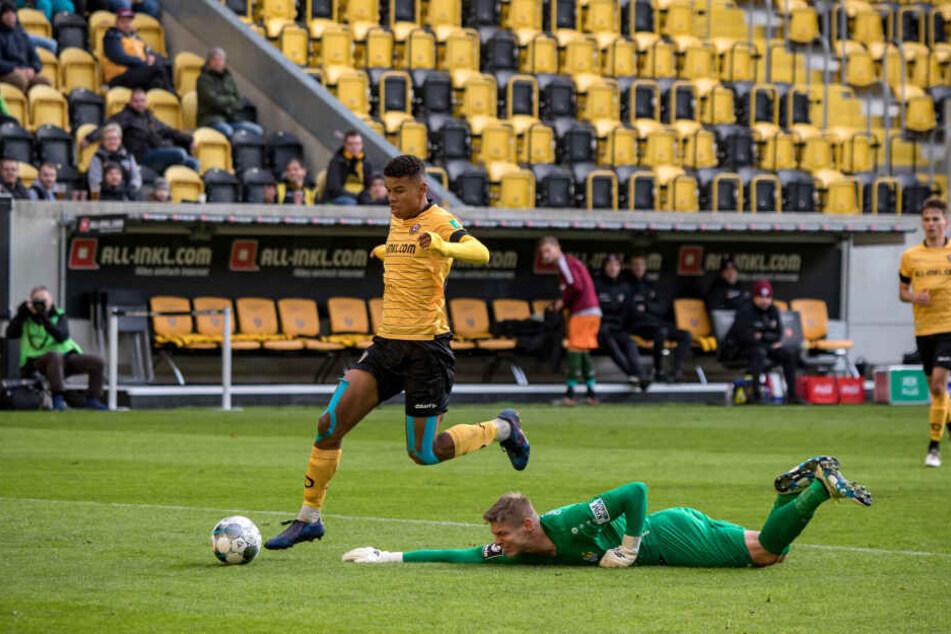 Ransford-Yeboah Königsdörffer durfte in dieser Saison bereits in zwei Testspielen ran, im September in Zeitz und hier im Oktober gegen Chemnitz.