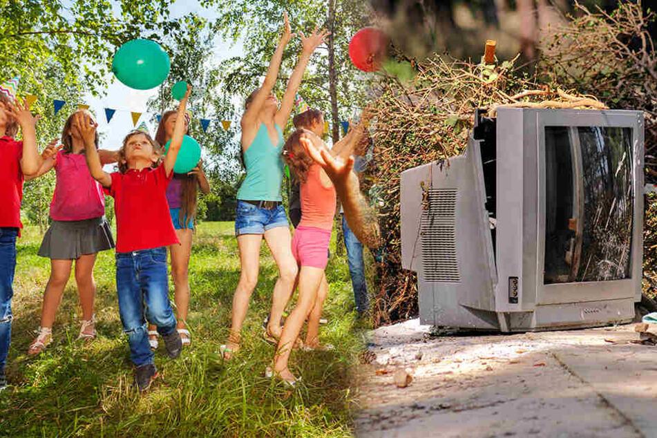 Beim Spielen wurde eine Gruppe Kinder beinahe von einem aus dem zweiten Stock fallenden Fernseher getroffen.