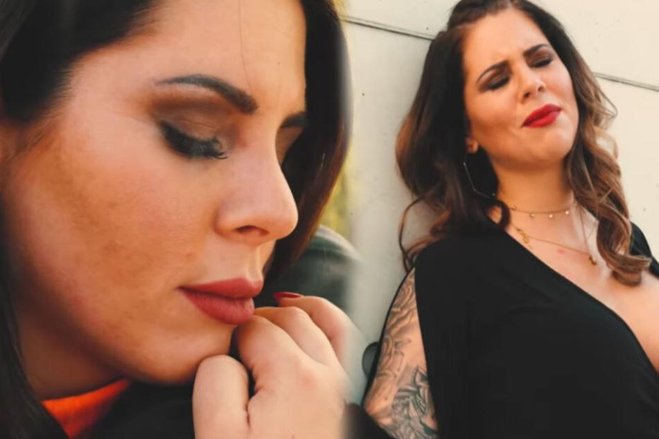 """Ex-Dschungelkönigin Jenny Frankhauser kämpft im Musikvideo zu """"Zwischen zwei Stühlen"""" mit ihren Emotionen. (Fotomontage)"""