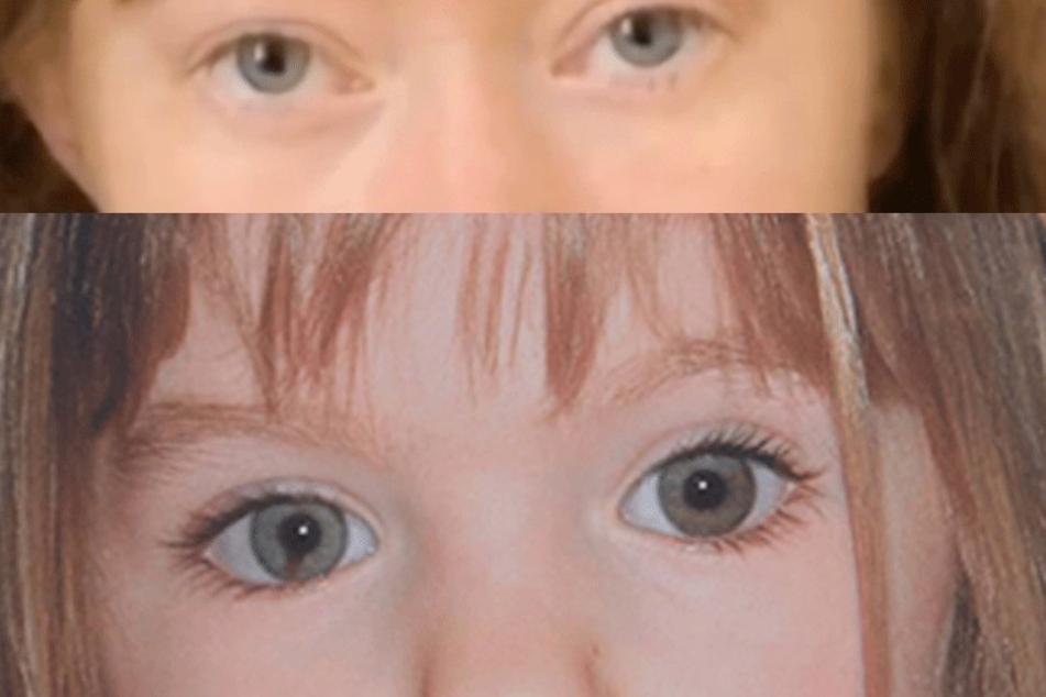 Die Augenfarbe ähnelt sich und bei der Aufnahme des Mädchens in Rom (oben) scheint sich auch eine Unregelmäßigkeit an der rechten Pupille abzuzeichnen, wie bei Maddi (unten).