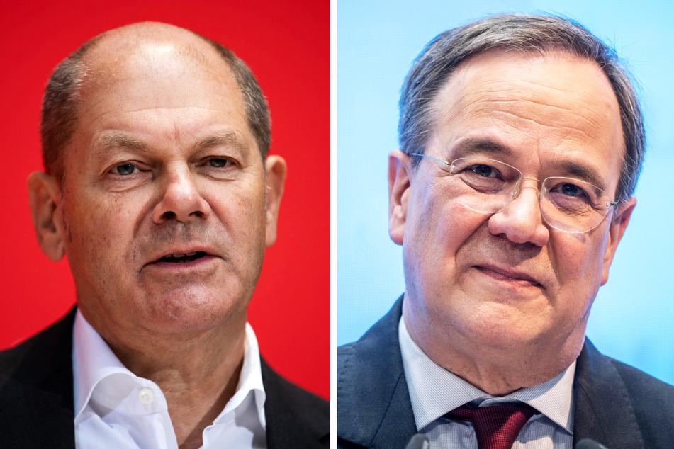 SPD-Kanzlerkandidat Olaf Scholz (63, l.) und CDU-Spitzenkandidat Armin Laschet (60) wurden am Mittwochabend zeitgleich im TV attackiert. Drei junge Frauen sollen auf ihre Auftritte vorbereitet worden sein.