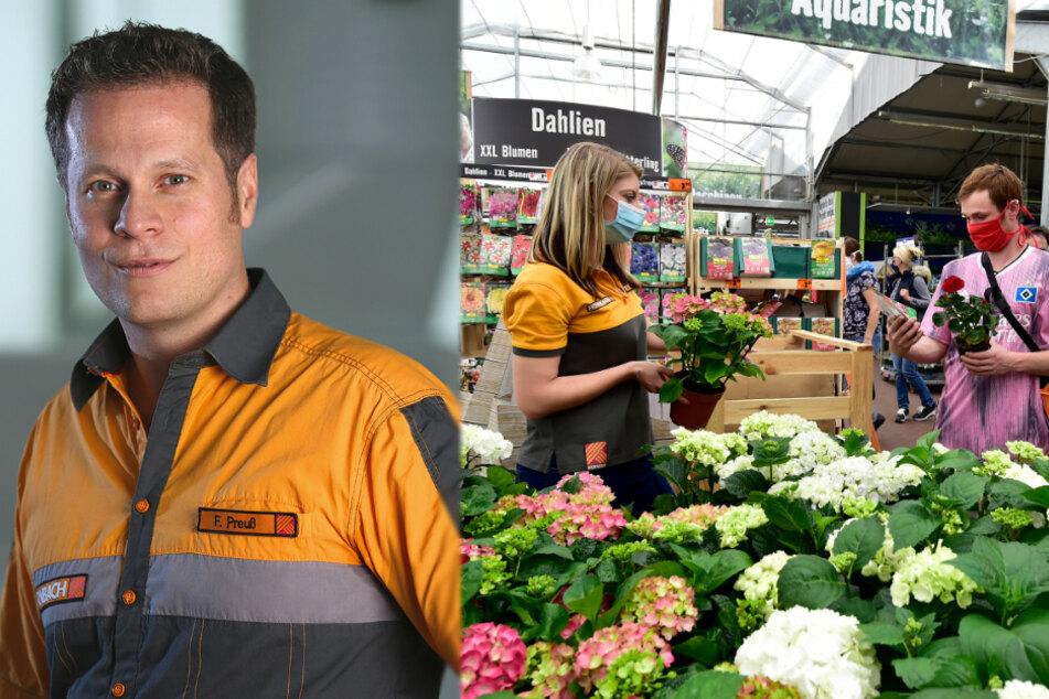 Ran ans Grüne! Aber nicht nur Pflanzen sind derzeit im Chemnitzer Hornbach-Markt beliebt, weiß Sprecher Florian Preuß (43).