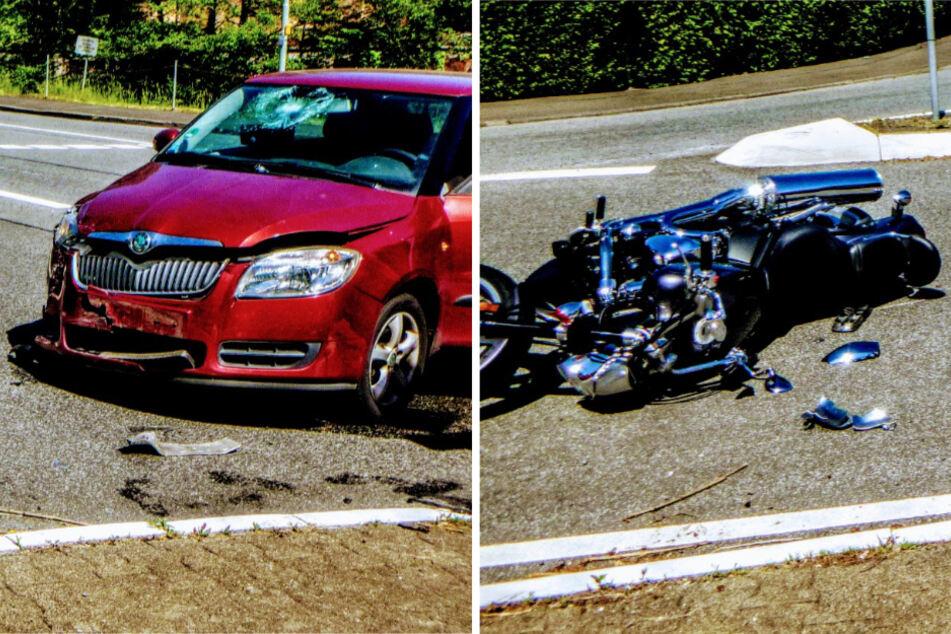 Skoda-Fahrerin übersieht Motorrad: Biker-Paar schwer verletzt