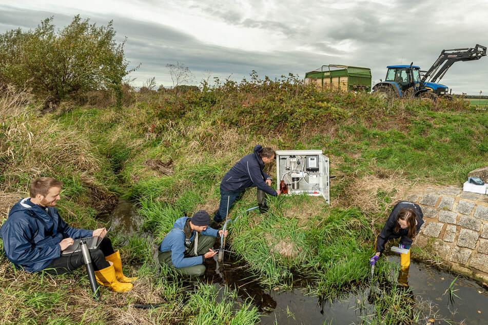 Wissenschaftler des UFZ haben auch Wasserproben an sieben sächsischen Messstellen entnommen, hier an der Launzige bei Neichen (Landkreis Leipzig).