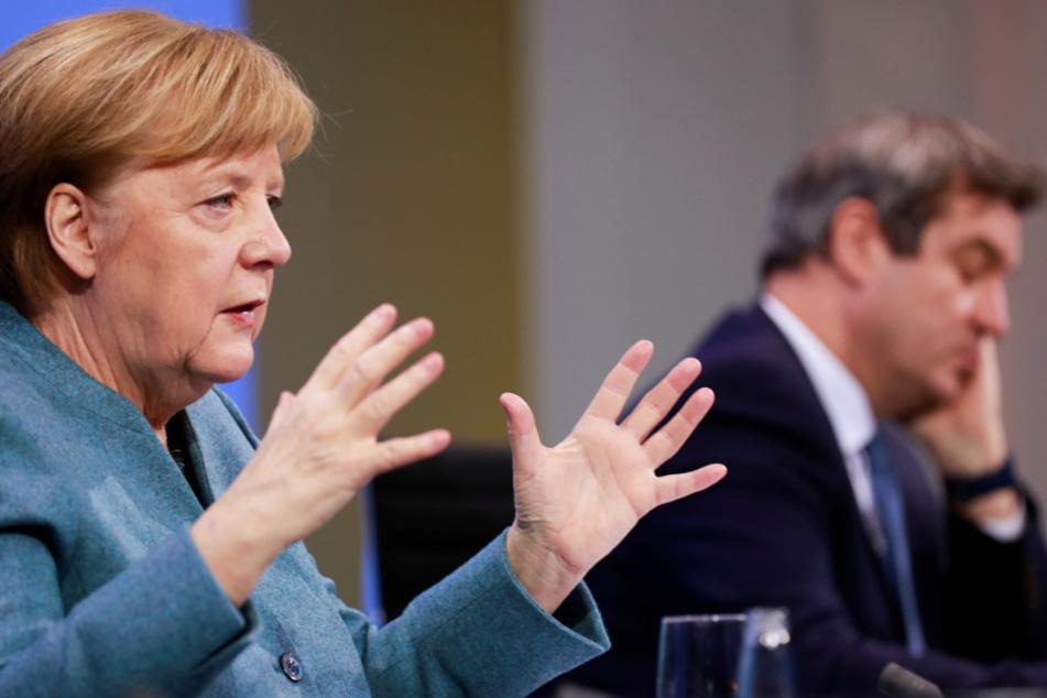 Bundeskanzlerin Angela Merkel (66, CDU) und Bayerns Ministerpräsident Markus Söder (54, CSU).