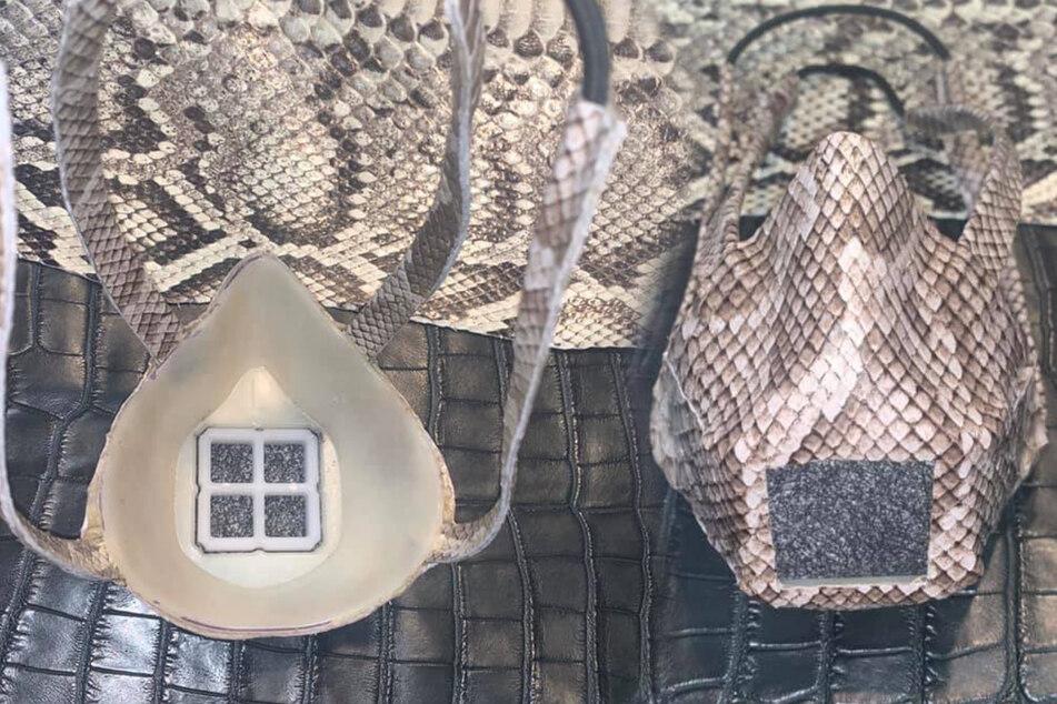 Die Schutzmasken aus Schlangenhaut sind mit einem N95 Carbon Filter ausgestattet.