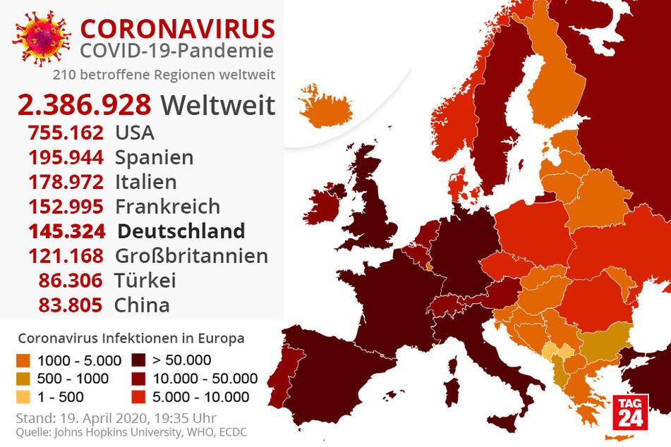 Coronsvirus-Infektionen weltweit.