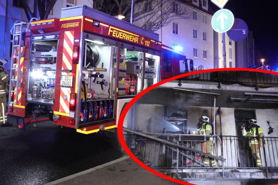 Dresden: Dresdner Feuerwehr mit Großaufgebot: Nächtlicher Brand in Mehrfamilienhaus!