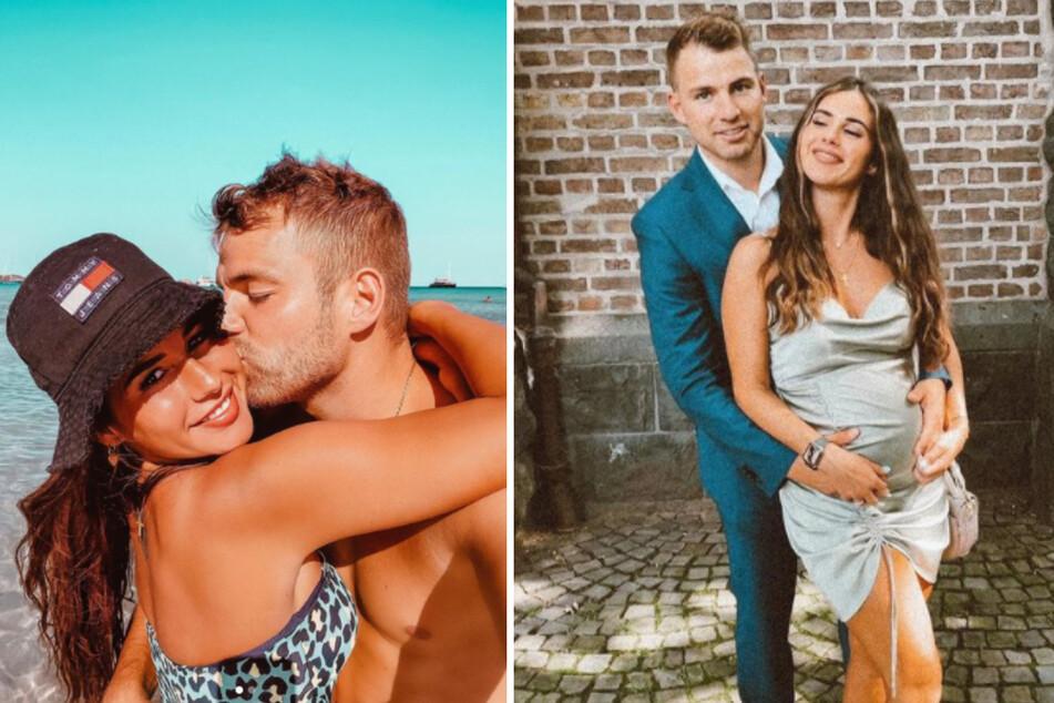Sarah und Julian Engels (beide 28) erwarten ihr erstes gemeinsames Kind und könnten wohl kaum glücklicher miteinander sein. (Fotomontage)