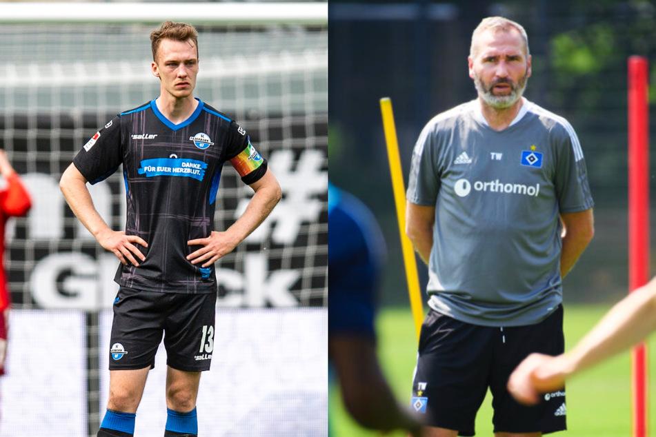 HSV-Coach Tim Walter (45, r.) hat vor dem Testspiel gegen den FC Basel den neuen Kapitän der Rothosen bestimmt: Neuzugang Sebastian Schonlau (26), hier noch im Trikot des SC Paderborn 07.
