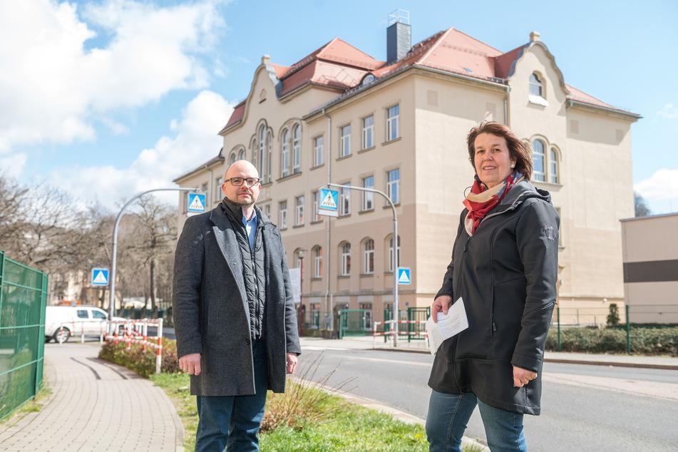 Silke Fenger (48) und Sebastian Strobel (38) vom Elternrat des Weißeritzgymnasiums.