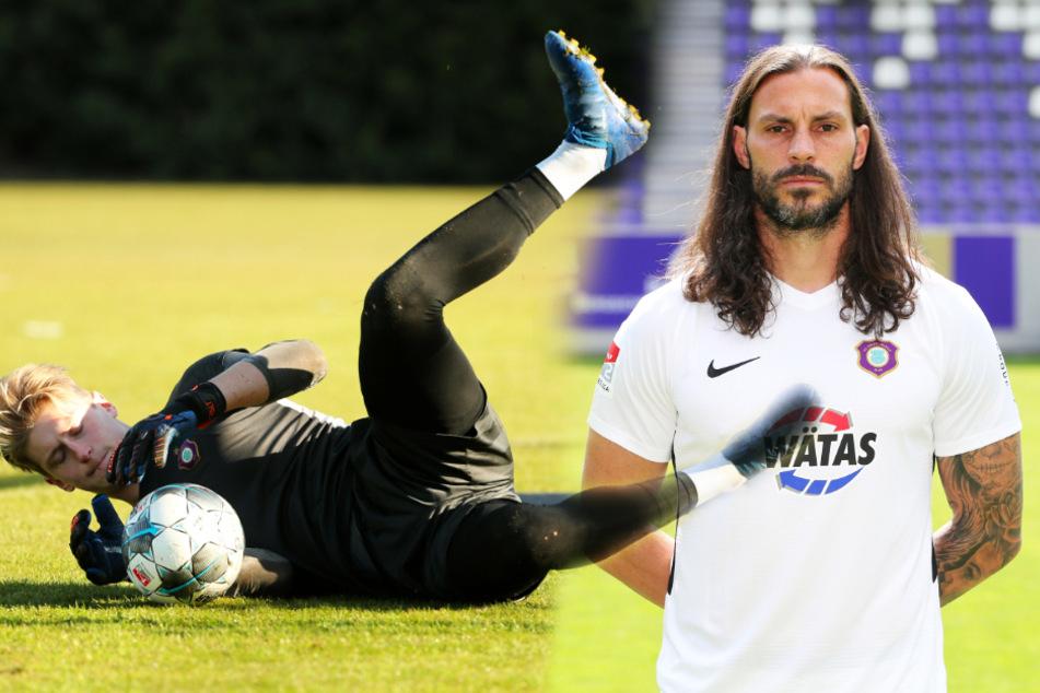 Robert Jendrusch (l.), die etatmäßige Nummer 2 beim FCE, wird gegen Darmstadt wohl den Auer Kasten hüten. Daniel Haas wird vermutlich sein Ersatzkeeper sein.