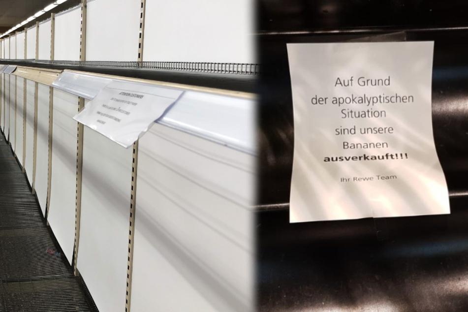 Der Lebensmittelmarkt in Mannheim reagierte mit Humor auf die Hamsterkäufe. (Fotomontage)