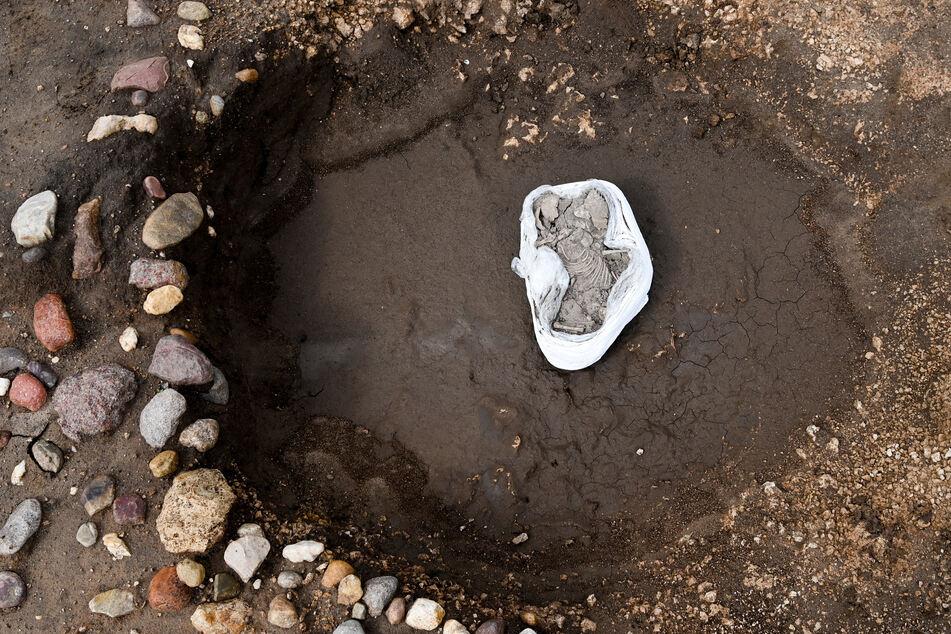 Das Baby liegt in einem Grab in Friedrichsschwerz bei Halle. Es ist schätzungsweise im Alter von höchstens einem halben Jahr gestorben.