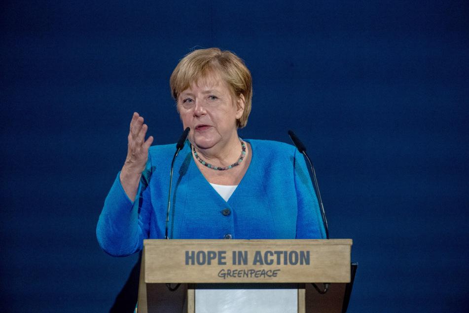Bundeskanzlerin Angela Merkel (67, CDU) hielt die Festrede auf der Festveranstaltung 50 Jahre Greenpeace.