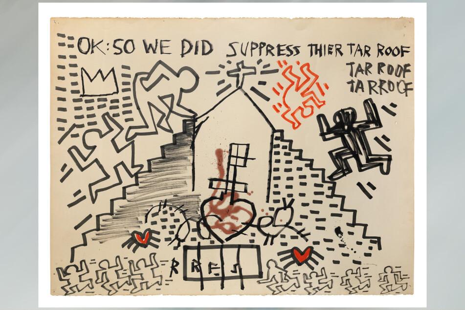 """Versteigerungsobjekt: Das Gemeinschaftswerk der beiden Künstler Keith Haring und Jean-Michel Basquiat mit dem Titel """"Untitled""""."""