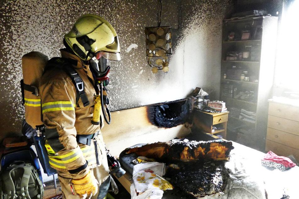 Eine Matratze fing durch einen technischen Defekt Feuer.