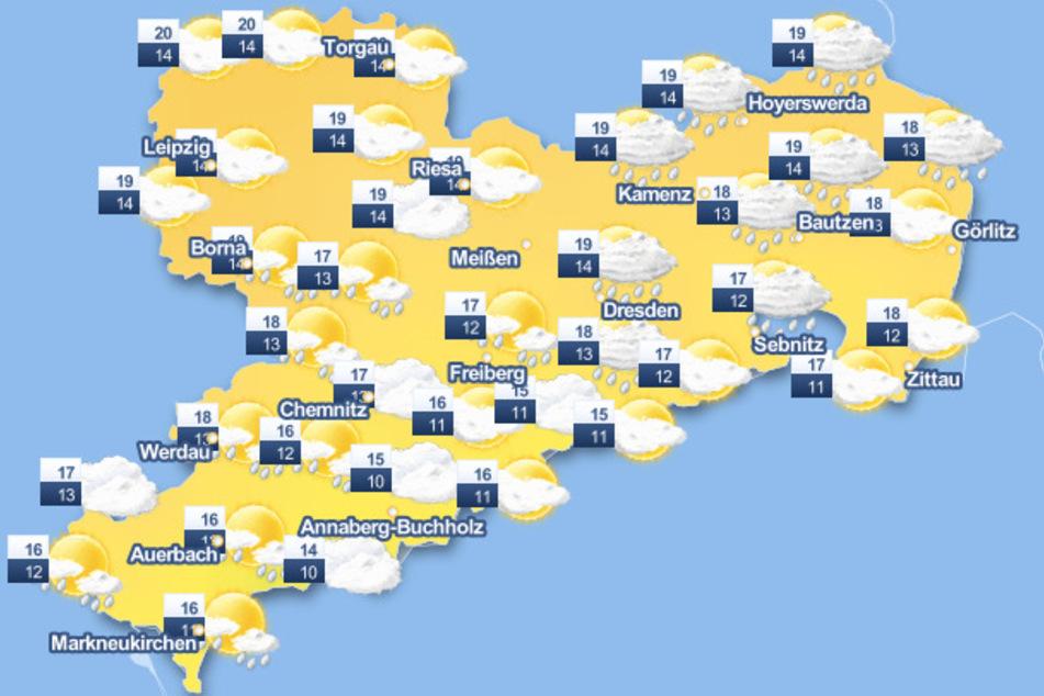 Die Wetter-Karte verheißt nichts Gutes: Es wird nass in Sachsen!