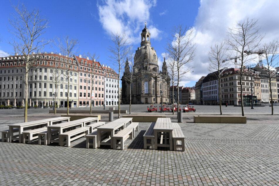 So leer wie im ersten Lockdown könnte es auf dem Dresdner Neumarkt auch im November werden.