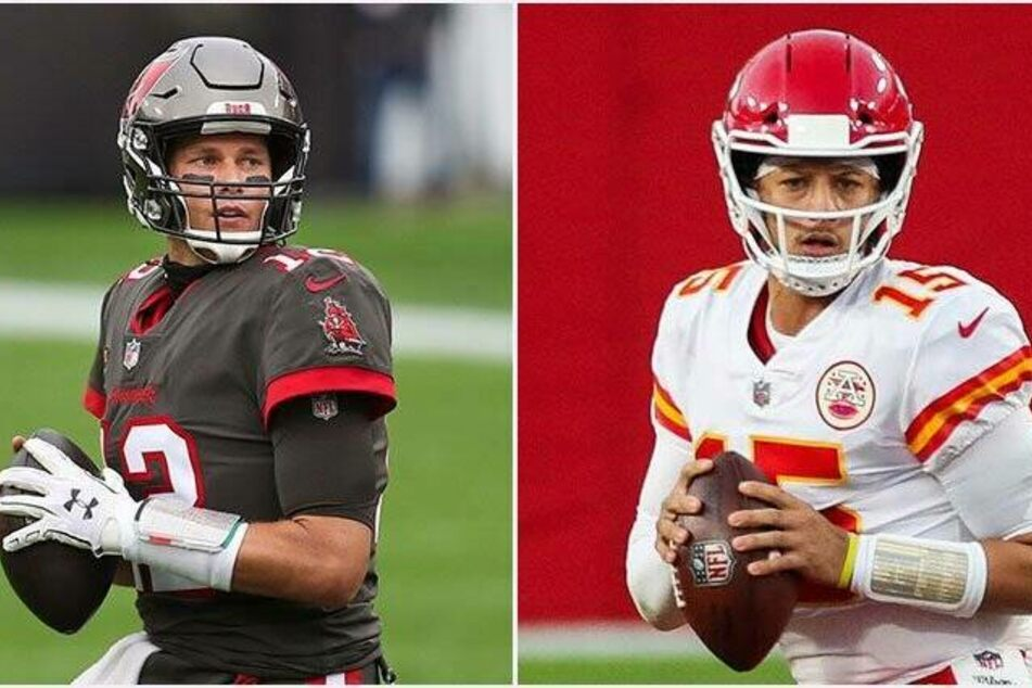 Tom Brady (43, l.) and Patrick Mahomes (25) will face off in a fascinating battle of the quarterbacks.