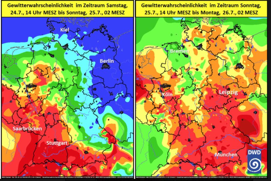 Die Karte des Deutschen Wetterdienstes (DWD zeigt die Wahrscheinlichkeit für Gewitter am Wochenende.