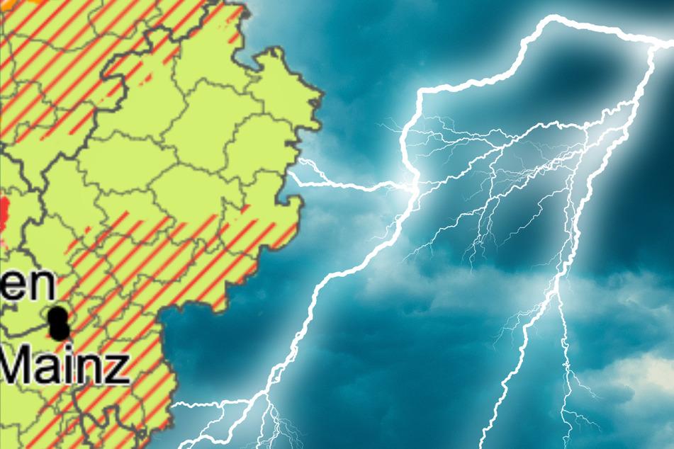 Gewitter und Starkregen: Der Deutsche Wetterdienst (Grafik) hat eine Unwetterwarnung für Teile von Hessen ausgesprochen.