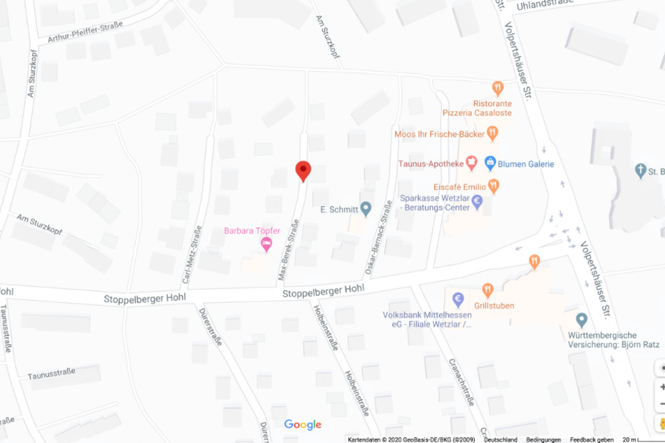Dieser Screenshot des Online-Dienstes Google Maps zeigt die Max-Berek-Straße in Wetzlar.
