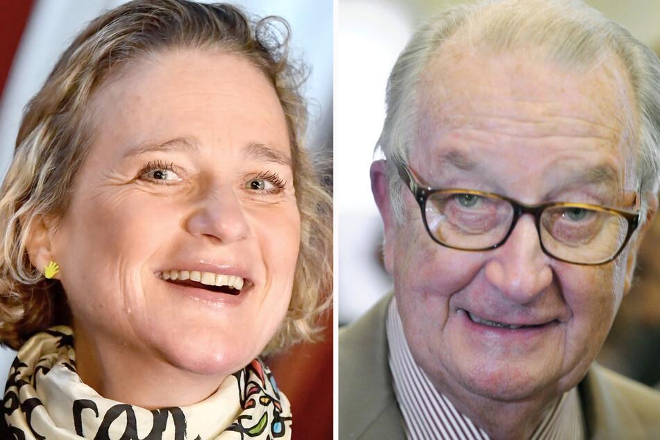 Tochter und Vater: Delphine Boël (52) in einer Aufnahme vom 13. Dezember 2019, und Belgiens damaliger König Albert II., aufgenommen am 7. Juni 2014.