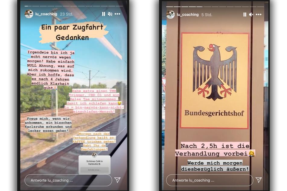 Die Influencerin hielt ihre Instagram-Abonnenten über den heutigen Prozesstag auf dem Laufenden.