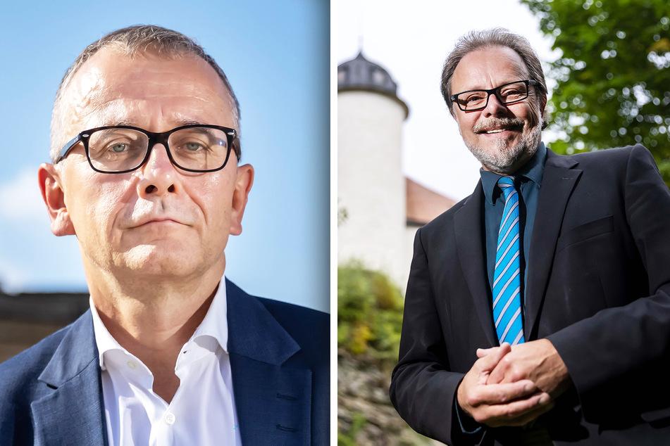 Laut Prognosen werden sich viele Chemnitzer für Michael Klonovsky (59, AfD, l.) entscheiden. Frank Heinrich (57, CDU) hat in Chemnitz seit 2009 stets das Direktmandat geholt - doch diesen Sonntag könnte es knapp werden.