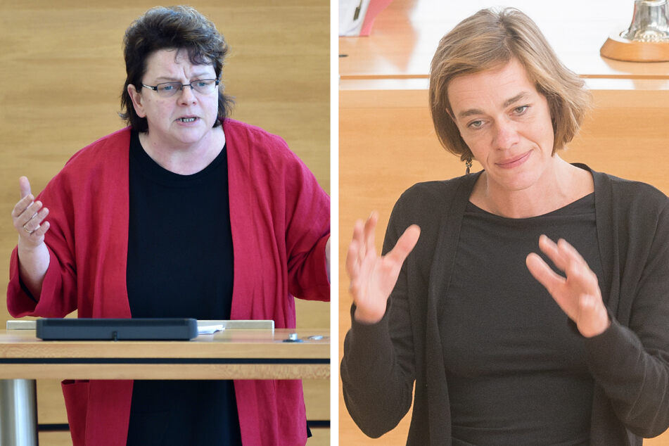 Die Linke-Politikerinnen Kerstin Köditz (54, li.) und Juliane Nagel (42) fordern im Prozess gegen Lina E. (26) eine faire und sachliche Beweisaufnahme. (Archivbilder)