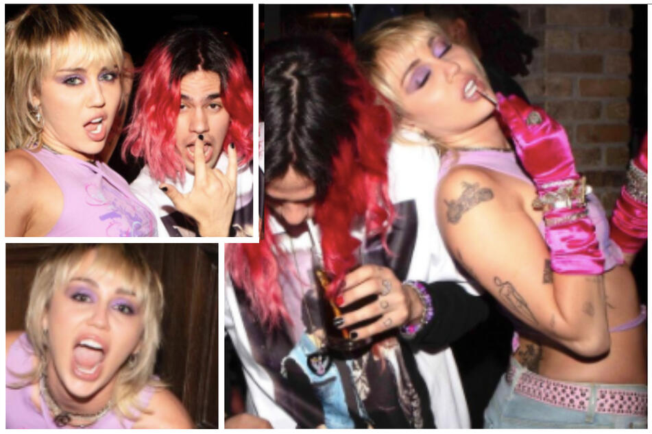 Miley shared photos of her night with her new flame Yungblud on her Instagram (collage).