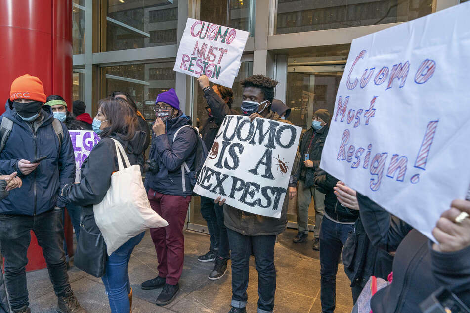 Protesters gathered outside the Governor Andrew Cuomo s Third Avenue office, calling for him to resign.