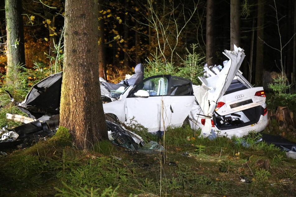 Der Audi wurde bei dem Unfall in Triebel in zwei Teile gerissen. Der Fahrer wurde schwer verletzt.
