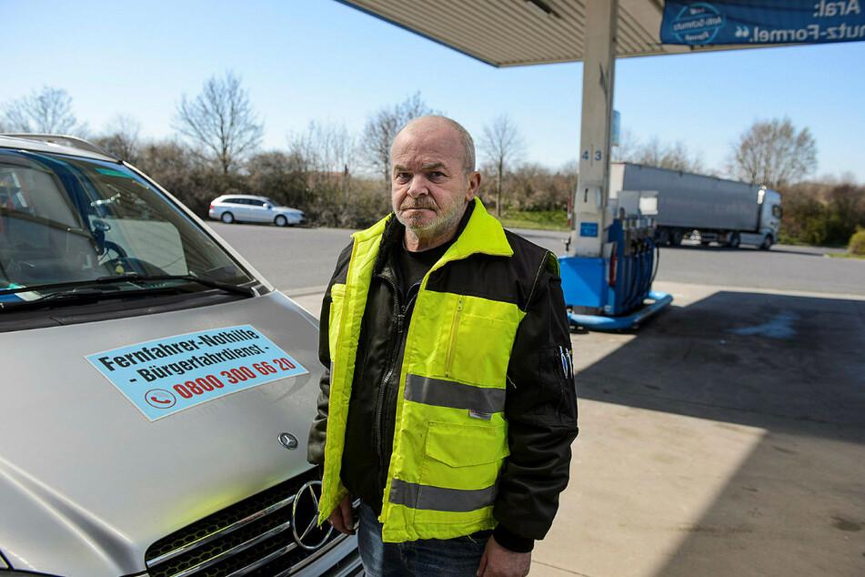 Bernd Treffkorn (67) engagiert sich für die Fernfahrer-Nothilfe in Sachsen. Er selbst war 25 Jahre LKW-Fahrer.
