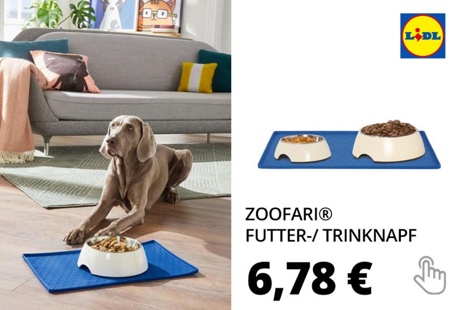 ZOOFARI® Futter-/ Trinknapf, mit Antirutschrand, aus Edelstahl, spülmaschinengeeignet