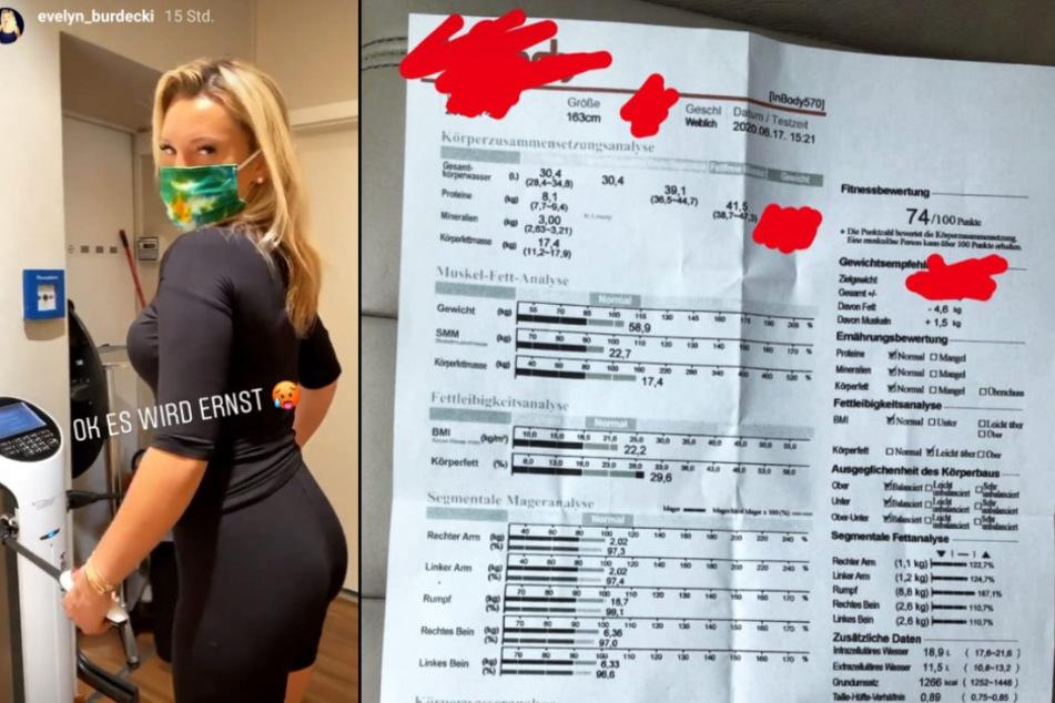 Evelyn Burdecki präsentierte in ihrer Instagram-Story die Ergebnisse ihrer Körperanalyse.