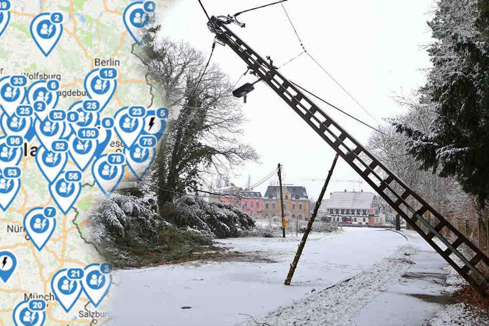 Durch Sturm Friederike kam es in Sachsen, Sachsen-Anhalt, Thüringen und Brandenburg zu großflächigen Stromausfällen.