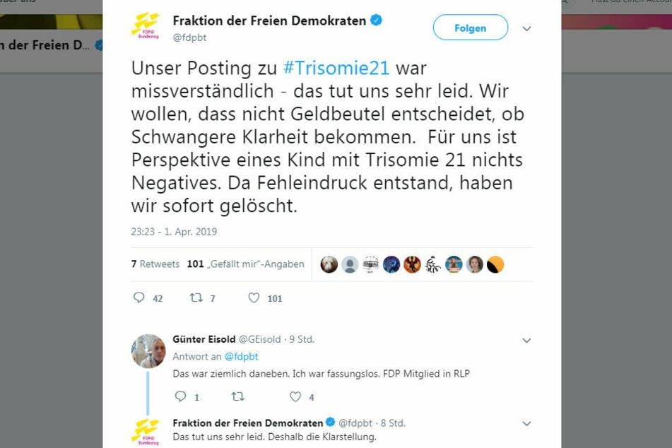 Die FDP-Fraktion entschuldigte sich schnell für ihren unglücklichen Post.