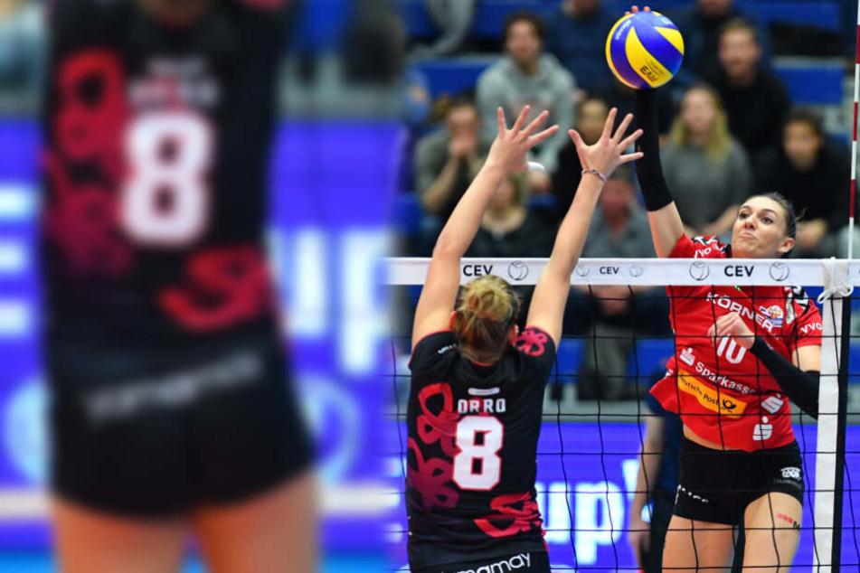 Im Vorjahr scheiterte der DSC auf der europäischen Bühne in der ersten Runde des CEV-Cups gegen Busto Arsizio. Hier greift Lena Stigrot gegen Alessia Orro an.