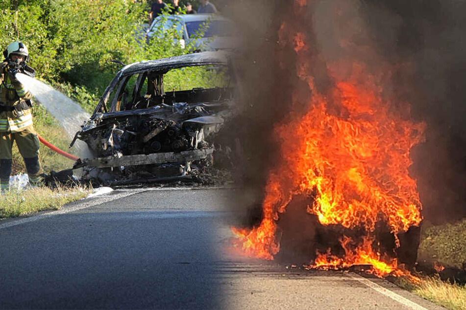 BMW gerät mitten auf A4 in Flammen: Insassen retten sich in letzter Sekunde