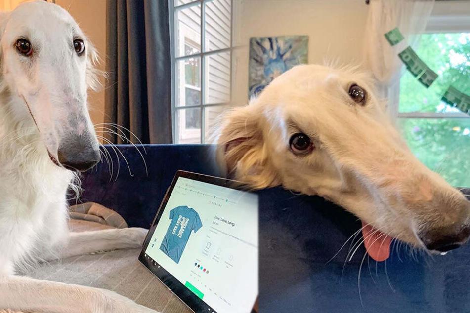 Sichtlich stolz auf ihre T-Shirt-Kollektion. Bleibt zu hoffen, dass der Ruhm Eris nicht zu Kopf steigt...