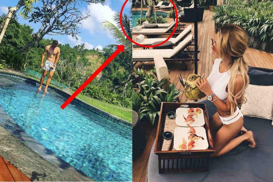 Gemeinsamer Urlaub? Also irgendwie sehen der Pool, die Bepflanzung, die Holzdielen und die zwei Teller ziemlich verdächtig aus. (Bildmontage)