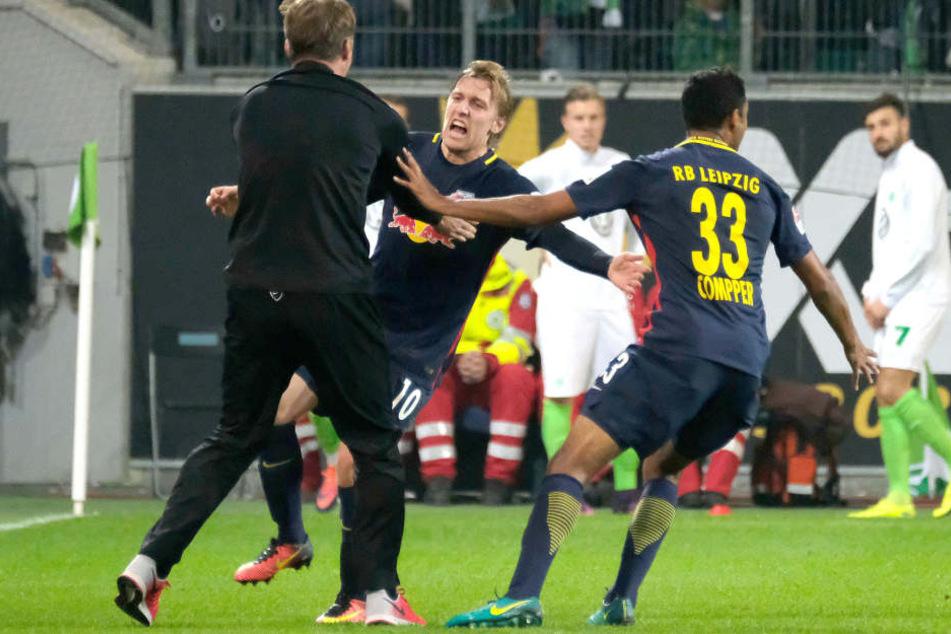 Im Vorjahr freute sich Emil Forsberg über seinen Siegtreffer zum 1:0 in Wolfsburg. Diese Saison fehlt der Schwede.