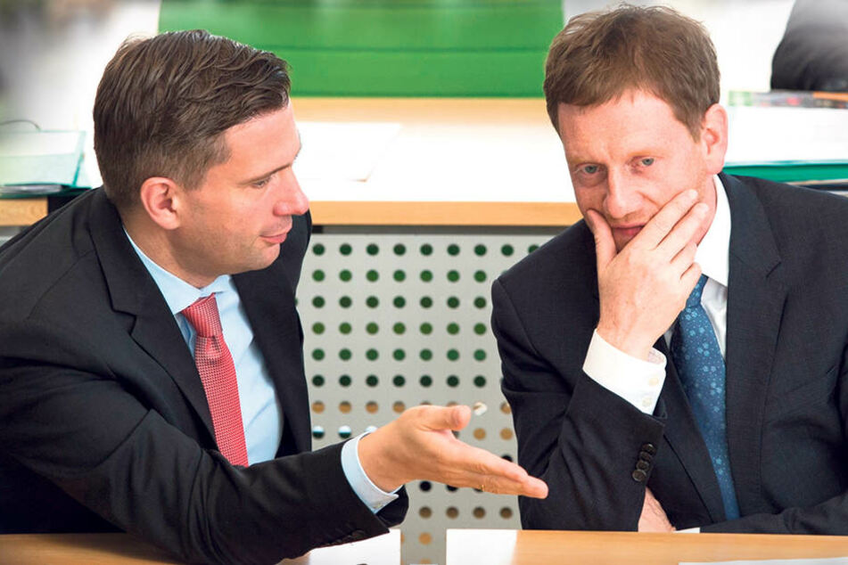 Können menschlich ganz gut miteinander: Martin Dulig und Ministerpräsident Michael Kretschmer (43, CDU) wollen nach Jahren des Abbaus wieder mehr Lehrer und Polizisten einstellen, also mehr Staat zulassen.