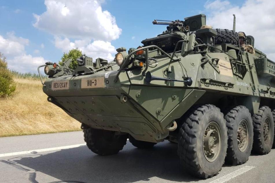 Die US-Militärfahrzeuge fuhren auf der A4 Richtung Dresden.