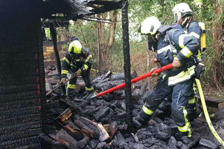 Das Kaminholz hatte ebenfalls Feuer gefangen.